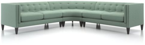 Aidan 3-Piece Tufted Sectional Sofa (Left Arm Loveseat, Wedge, Right Arm Loveseat) shown in Cole, Bay