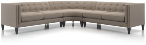 Aidan 3-Piece Tufted Sectional Sofa (Left Arm Loveseat, Wedge, Right Arm Loveseat) shown in Cole, Nickel