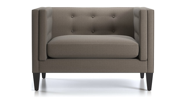 Aidan Tufted Chair and a Half shown in Cole, Nickel