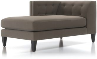 Aidan Left Arm Tufted Chaise Lounge shown in Cole, Nickel