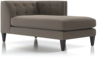 Aidan Right Arm Tufted Chaise Lounge shown in Cole, Nickel