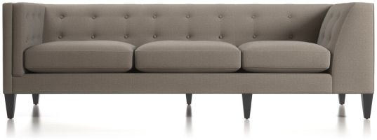 Aidan Left Arm Tufted Corner Sofa shown in Cole, Nickel
