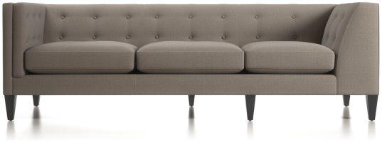 Aidan Left Arm Tufted Corner Sofa shown in Cole, Nickel