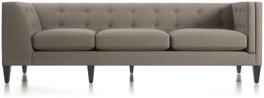 Aidan Right Arm Tufted Corner Sofa shown in Cole, Nickel