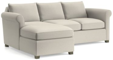 Hayward 2-Piece Left Arm Chaise Rolled Arm Sectional(Left Arm Chaise, Right Arm Loveseat) shown in Tahoe, Blizzard
