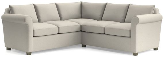 Hayward 2-Piece Left Arm Corner Sofa Rolled Arm Sectional(Left Arm Corner Sofa, Right Arm Loveseat) shown in Tahoe, Blizzard