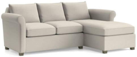 Hayward 2-Piece Right Arm Chaise Rolled Arm Sectional(Left Arm Loveseat, Right Arm Chaise) shown in Tahoe, Blizzard