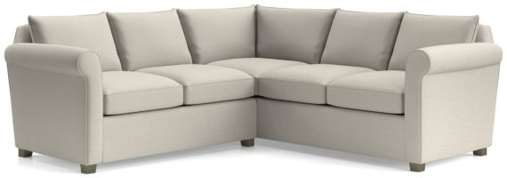 Hayward 2-Piece Right Arm Corner Sofa Rolled Arm Sectional(Left Arm Loveseat, RIght Arm Corner Sofa) shown in Tahoe, Blizzard