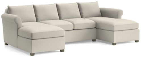Hayward 3-piece Sectional Rolled Arm Sectional(Left Arm Chaise, Armless Loveseat, Right Arm Chaise) shown in Tahoe, Blizzard