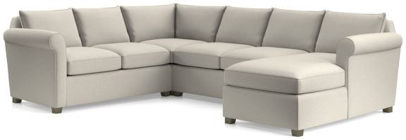 Hayward 4-Piece Right Arm Chaise Rolled Arm Sectional(Left Arm Loveseat, Corner, Armless Loveseat, Right Arm Chaise) shown in Tahoe, Blizzard