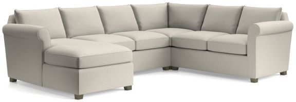 Hayward 4-Piece Left Arm Chaise Rolled Arm Sectional(Left Arm Chaise, Armless Loveseat, Corner, Right Arm Loveseat) shown in Tahoe, Blizzard