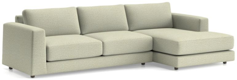 Peyton 2-Piece Right Arm Chaise Sectional(Left Arm Sofa, Right Arm Chaise) shown in Macey, Cashmere