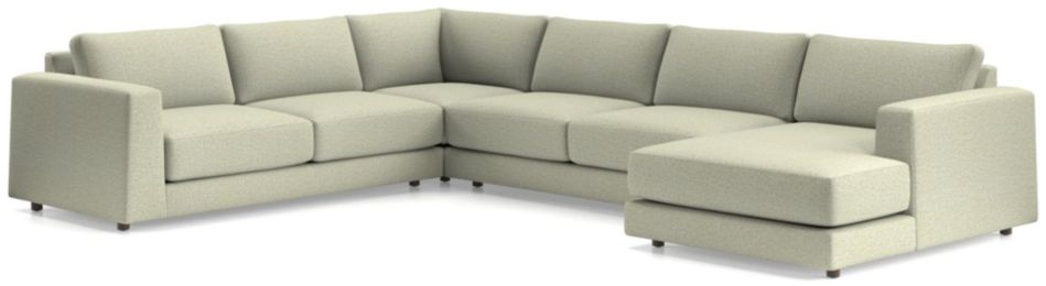 Peyton 4-Piece Right Arm Chaise Sectional(Left Arm Sofa, Corner, Armless Sofa, Right Arm Chaise) shown in Macey, Cashmere