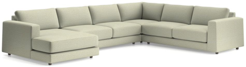 Peyton 4-Piece Left Arm Chaise Sectional(Left Arm Chaise, Armless Sofa, Corner, Right Arm Sofa) shown in Macey, Cashmere