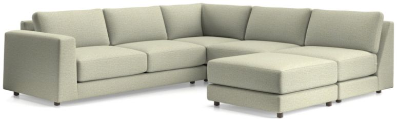 Peyton 4-Piece Left Arm Sofa Sectional(Left Arm Sofa, Corner, Armless Sofa, Ottoman) shown in Macey, Cashmere