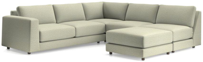 Peyton 4-Piece Left Arm Sofa Sectional(Left Arm Sofa, Corner, Armless Sofa, Ottoman) shown in Macey, Cashmere