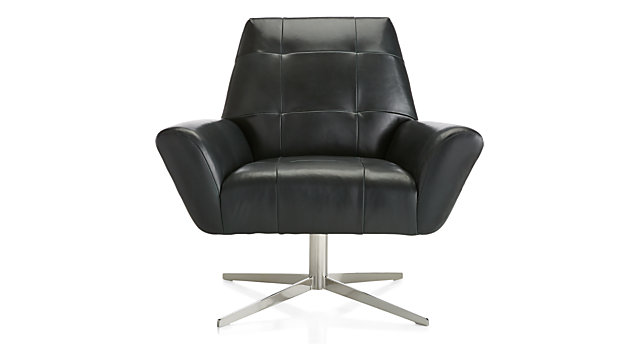 Rhodes Swivel Leather Lounge Chair shown in Alps, Pine