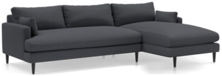 Monahan 2-Piece Right Arm Chaise Sectional(Left Arm Loveseat, Right Arm Chaise) shown in Desi, Ink