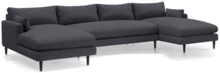 Monahan 3-Piece Double Chaise Sectional(Left Arm Chaise, Armless Loveseat, Right Arm Chaise) shown in Desi, Ink