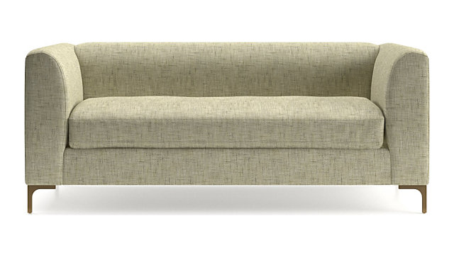 Claire Petite Modern Apartment Sofa with Metal Legs shown in Gabi, Ecru