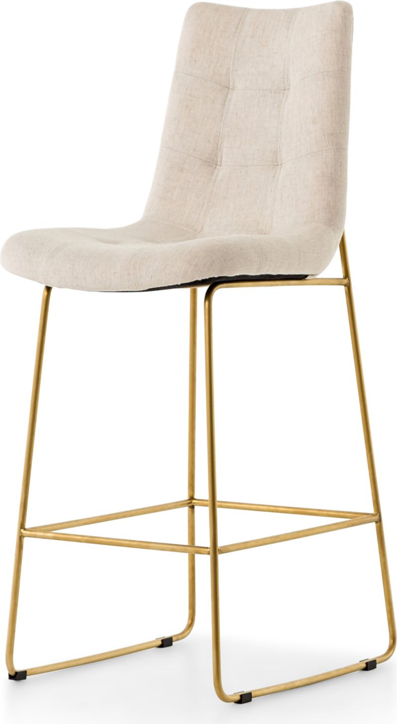 Remarkable Naomi Dempsey Flax Tufted Bar Stool Crate And Barrel Dailytribune Chair Design For Home Dailytribuneorg