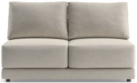 Gather Petite Armless Loveseat shown in Monet, Champagne