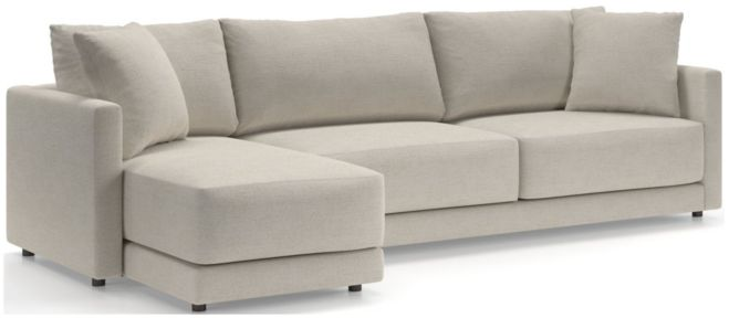 Gather Petite 2-Piece Sectional (Left-Arm Chaise, Right-Arm Sofa) shown in Monet, Champagne