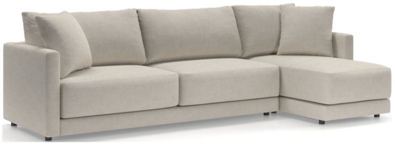 Gather Petite 2-Piece Sectional (Right-Arm Chaise, Left-Arm Sofa) shown in Monet, Champagne