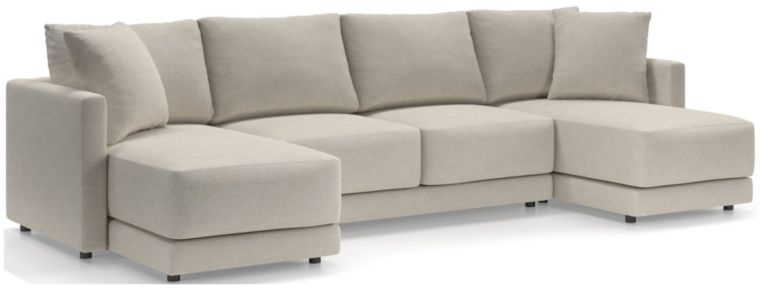 Gather Petite 3-Piece Sectional (Left-Arm Chaise, Armless Loveseat, Right-Arm Chaise) shown in Monet, Champagne