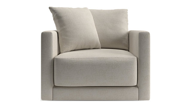 Gather Petite Swivel Chair shown in Monet, Champagne