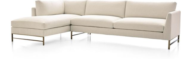 Genesis Brushed Brass 2-Piece Sectional (Right Arm Sofa, Left Arm Chaise) shown in Vail, Snow