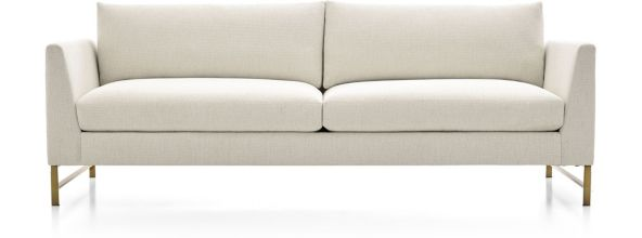 Genesis Sofa with Brushed Brass Base shown in Vail, Snow