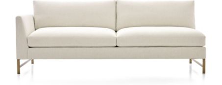 Genesis Left Arm Sofa with Brushed Brass Base shown in Vail, Snow