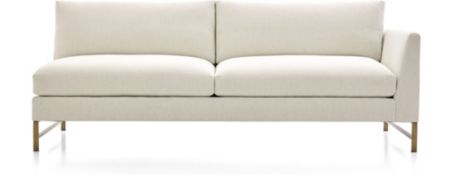 Genesis Right Arm Sofa with Brushed Brass Base shown in Vail, Snow
