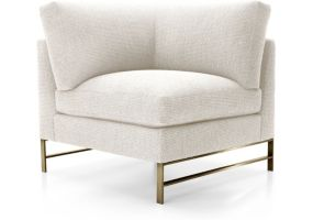Genesis Left Corner Chair with Brushed Brass Base shown in Vail, Snow