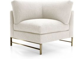 Genesis Right Corner Chair with Brushed Brass Base shown in Vail, Snow