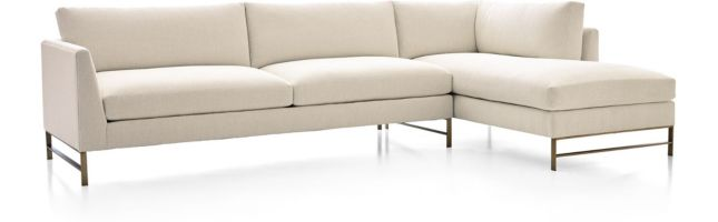 Genesis Brushed Brass 2-Piece Sectional (Left Arm Sofa, Right Arm Chaise) shown in Vail, Snow
