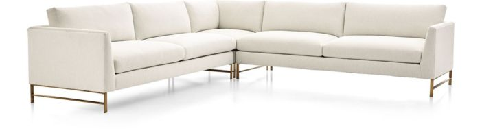 Genesis Brushed Brass 3-Piece Sectional (Right Arm Sofa, Right Corner, Left Arm Sofa) shown in Vail, Snow