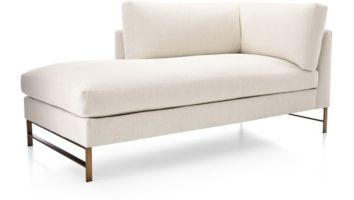 Genesis Left Arm Chaise with Brushed Brass Base shown in Vail, Snow