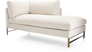 Genesis Right Arm Chaise with Brushed Brass Base shown in Vail, Snow
