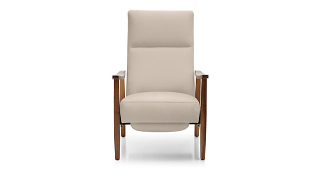 Greer Fabric Wood Arm Recliner shown in Binth, Pearl