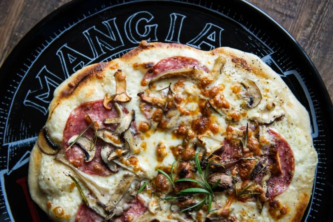 Rosemary mushroom and salami pizza