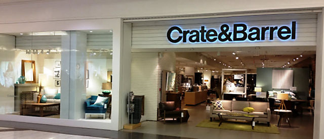 Exterior view of Crate and Barrel location, Southgate Centre