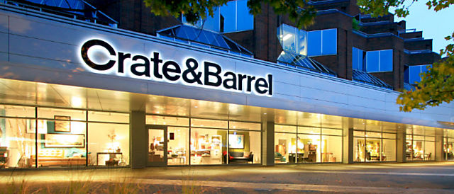 Exterior view of Crate and Barrel location, Oakridge Centre